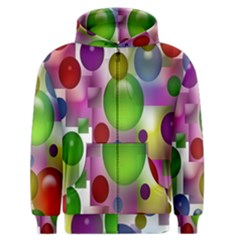 Colored Bubbles Squares Background Men s Zipper Hoodie