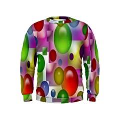 Colored Bubbles Squares Background Kids  Sweatshirt