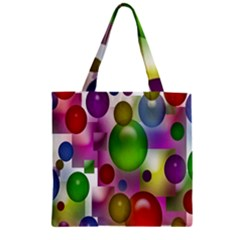 Colored Bubbles Squares Background Zipper Grocery Tote Bag