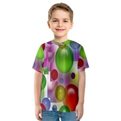 Colored Bubbles Squares Background Kids  Sport Mesh Tee