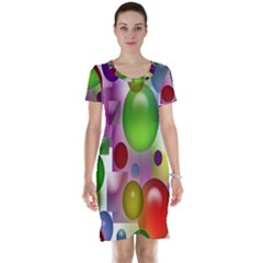 Colored Bubbles Squares Background Short Sleeve Nightdress
