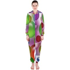 Colored Bubbles Squares Background Hooded Jumpsuit (ladies)