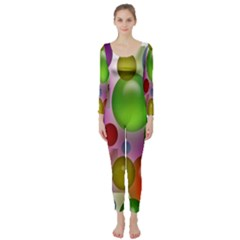 Colored Bubbles Squares Background Long Sleeve Catsuit