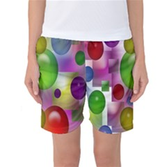 Colored Bubbles Squares Background Women s Basketball Shorts