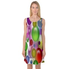 Colored Bubbles Squares Background Sleeveless Satin Nightdress