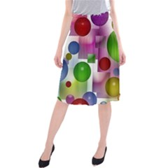 Colored Bubbles Squares Background Midi Beach Skirt