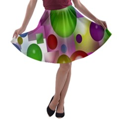 Colored Bubbles Squares Background A-line Skater Skirt