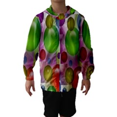 Colored Bubbles Squares Background Hooded Wind Breaker (Kids)