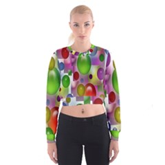 Colored Bubbles Squares Background Women s Cropped Sweatshirt