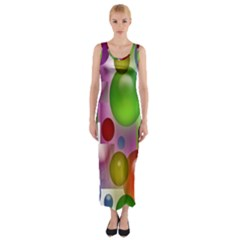 Colored Bubbles Squares Background Fitted Maxi Dress