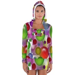 Colored Bubbles Squares Background Women s Long Sleeve Hooded T-shirt