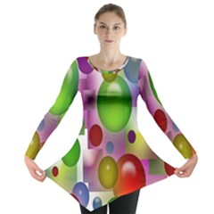 Colored Bubbles Squares Background Long Sleeve Tunic