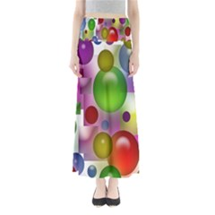 Colored Bubbles Squares Background Maxi Skirts