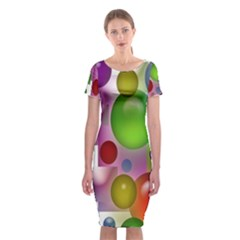 Colored Bubbles Squares Background Classic Short Sleeve Midi Dress