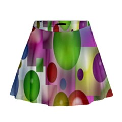 Colored Bubbles Squares Background Mini Flare Skirt