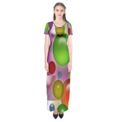 Colored Bubbles Squares Background Short Sleeve Maxi Dress