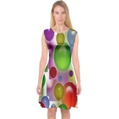 Colored Bubbles Squares Background Capsleeve Midi Dress