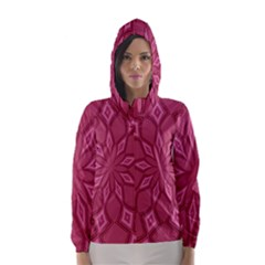 Fusia Abstract Background Element Diamonds Hooded Wind Breaker (women)