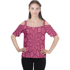 Fusia Abstract Background Element Diamonds Women s Cutout Shoulder Tee