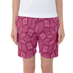 Fusia Abstract Background Element Diamonds Women s Basketball Shorts