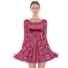 Fusia Abstract Background Element Diamonds Long Sleeve Skater Dress