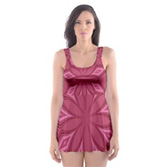 Fusia Abstract Background Element Diamonds Skater Dress Swimsuit