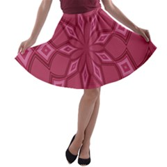 Fusia Abstract Background Element Diamonds A-line Skater Skirt