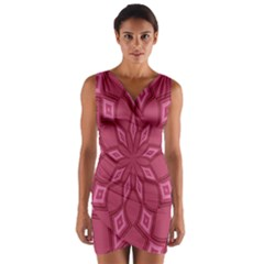 Fusia Abstract Background Element Diamonds Wrap Front Bodycon Dress