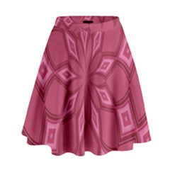 Fusia Abstract Background Element Diamonds High Waist Skirt