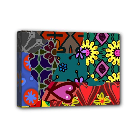 Digitally Created Abstract Patchwork Collage Pattern Mini Canvas 7  x 5