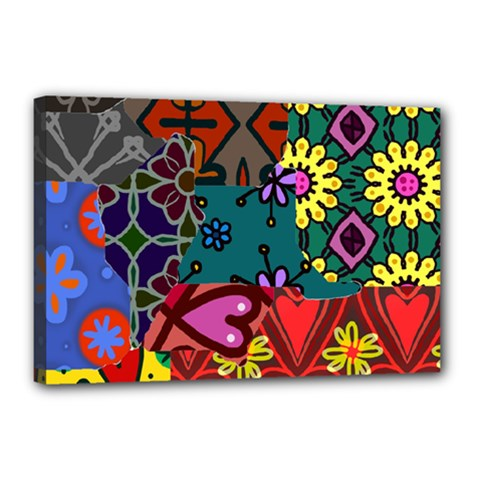 Digitally Created Abstract Patchwork Collage Pattern Canvas 18  X 12