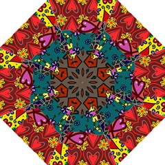 Digitally Created Abstract Patchwork Collage Pattern Folding Umbrellas