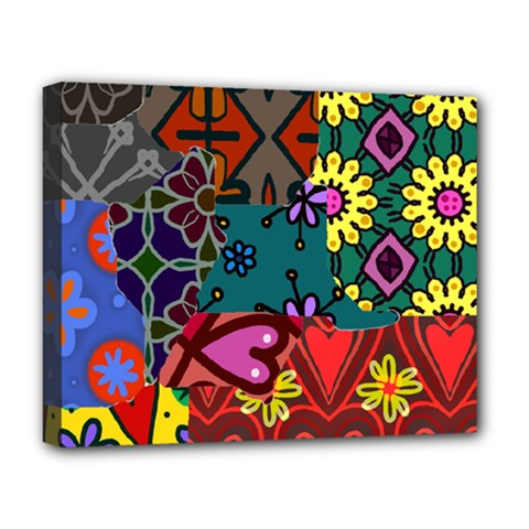 Digitally Created Abstract Patchwork Collage Pattern Deluxe Canvas 20  x 16