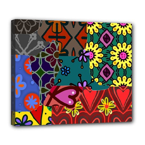 Digitally Created Abstract Patchwork Collage Pattern Deluxe Canvas 24  X 20