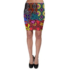 Digitally Created Abstract Patchwork Collage Pattern Bodycon Skirt