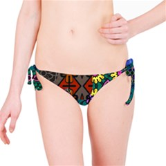 Digitally Created Abstract Patchwork Collage Pattern Bikini Bottom