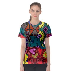 Digitally Created Abstract Patchwork Collage Pattern Women s Sport Mesh Tee