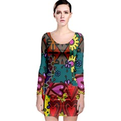 Digitally Created Abstract Patchwork Collage Pattern Long Sleeve Bodycon Dress