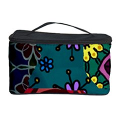 Digitally Created Abstract Patchwork Collage Pattern Cosmetic Storage Case