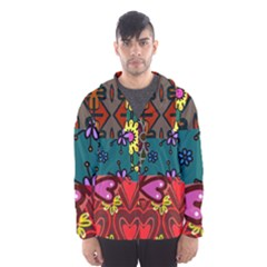 Digitally Created Abstract Patchwork Collage Pattern Hooded Wind Breaker (Men)