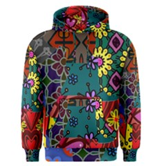 Digitally Created Abstract Patchwork Collage Pattern Men s Pullover Hoodie