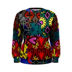 Digitally Created Abstract Patchwork Collage Pattern Women s Sweatshirt