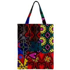 Digitally Created Abstract Patchwork Collage Pattern Zipper Classic Tote Bag