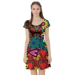 Digitally Created Abstract Patchwork Collage Pattern Short Sleeve Skater Dress