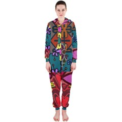 Digitally Created Abstract Patchwork Collage Pattern Hooded Jumpsuit (Ladies)