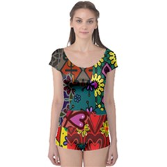 Digitally Created Abstract Patchwork Collage Pattern Boyleg Leotard