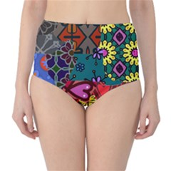 Digitally Created Abstract Patchwork Collage Pattern High-Waist Bikini Bottoms