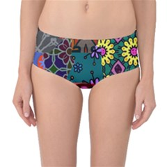 Digitally Created Abstract Patchwork Collage Pattern Mid Waist Bikini Bottoms