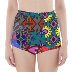 Digitally Created Abstract Patchwork Collage Pattern High-Waisted Bikini Bottoms