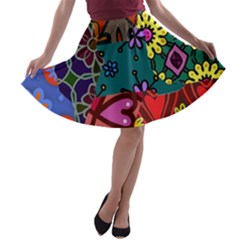 Digitally Created Abstract Patchwork Collage Pattern A-line Skater Skirt